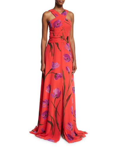 Cross-Front Floral Chiffon Gown, Red/Purple