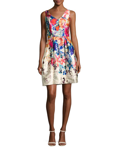 V-Neck Floral Border-Print Cocktail Dress