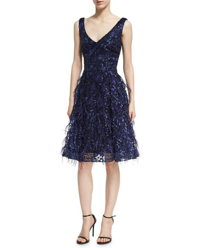 Sleeveless Lace Eyelash Dress, Royal