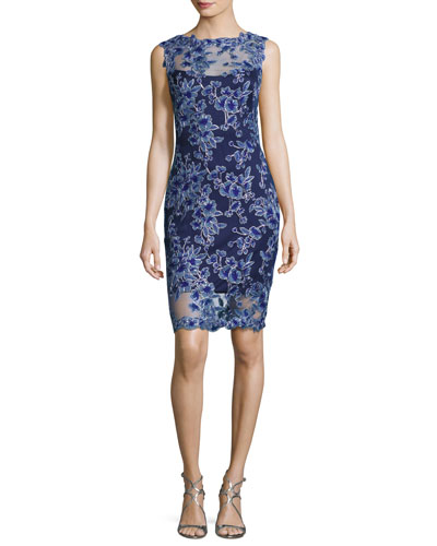 Sleeveless Floral Mesh Cocktail Dress, Blue-Violet