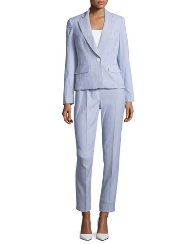 Seersucker Striped Two-Piece Pant Suit