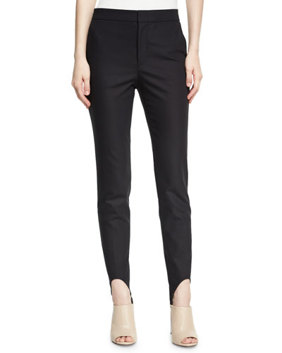 Stirrup Skinny Crepe Pants, Black
