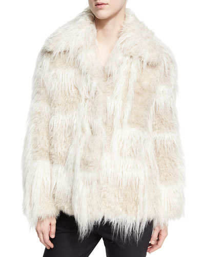 Two-Tone Faux-Fur Jacket, Cream