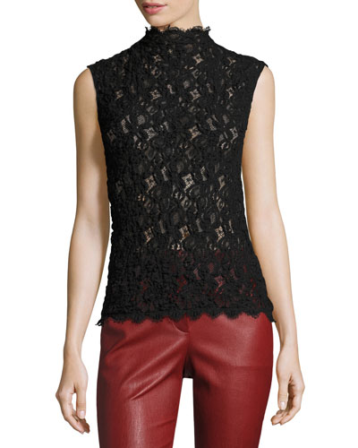 Lace Embossed Shell Top, Black