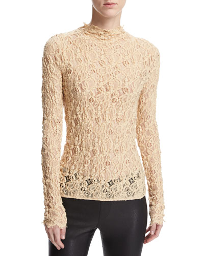 Long-Sleeve Embossed Lace Top, Brown