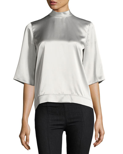 Back-Tie Boxy Silk Satin Top