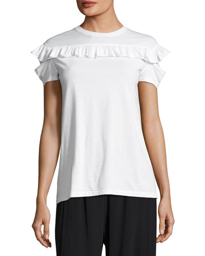Ruffled Split-Sleeve Cotton Tee, White
