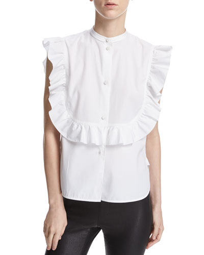 Ruffle Bib Sleeveless Poplin Shirt, White