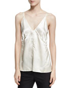 Deconstructed Sateen Slip Top, White