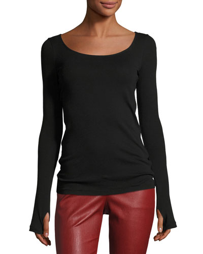 Long-Sleeve Scoop-Neck Ballet Tee, Black