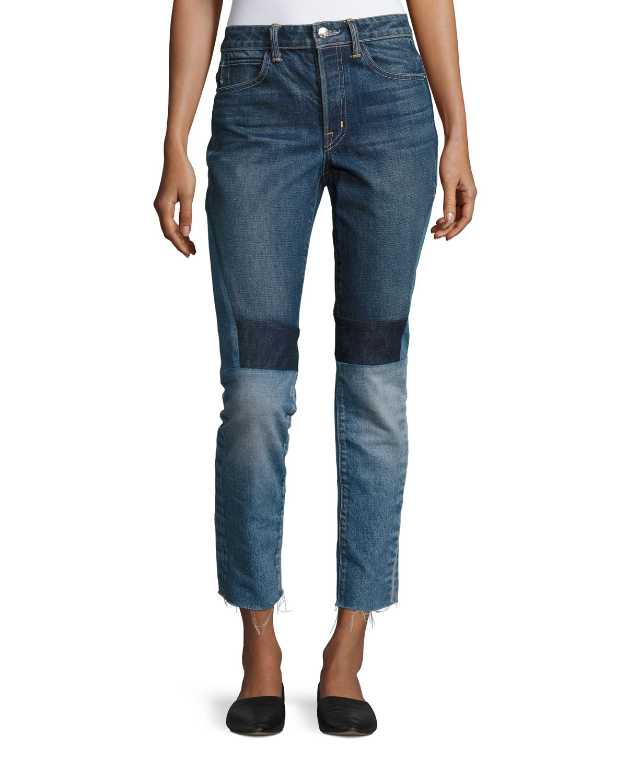 Patchwork High-Rise Crop Slim Jeans, Blue