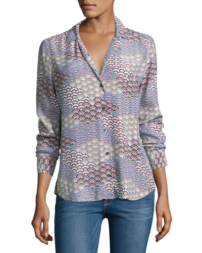 Adalyn Long-Sleeve Silk Blouse, White Pattern