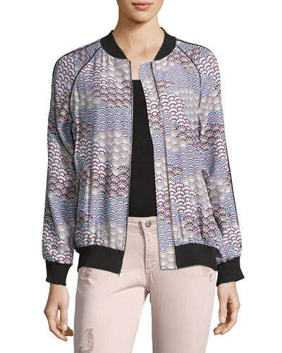 Kendrix Silk Bomber Jacket, White Pattern