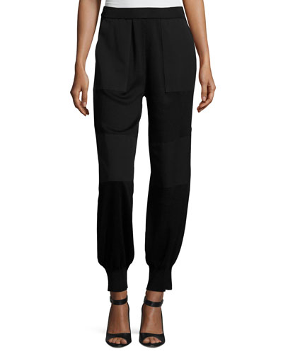 Contrast Panel Stretch Jogger Pants, Petite