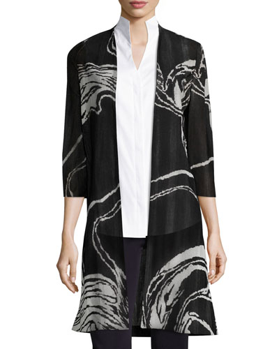 3/4 Sleeve Swirl Print Long Knit Jacket, Plus Size