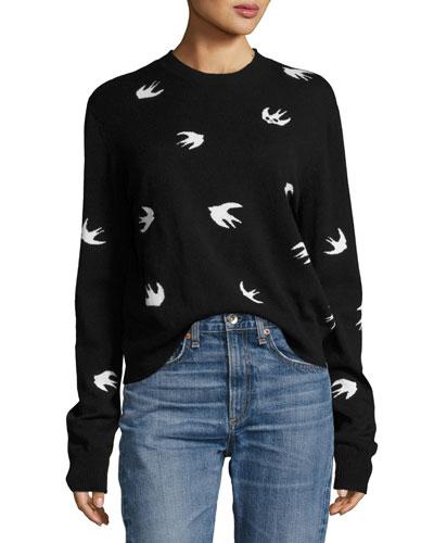 All Over Swallow Crewneck Sweatshirt, Black