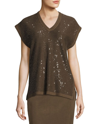 Cap-Sleeve V-Neck Sequined Knit Tunic, Petite