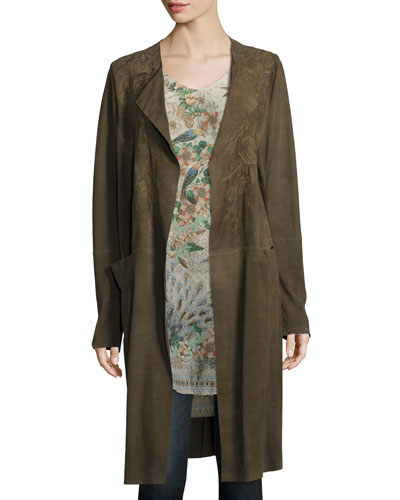 Antonia Suede Long Coat, Olive