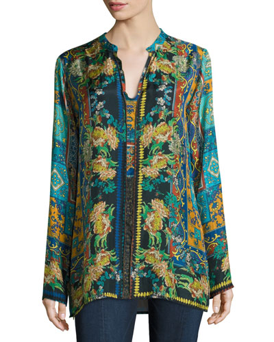 Sathya Silk Printed Georgette Blouse, Plus Size