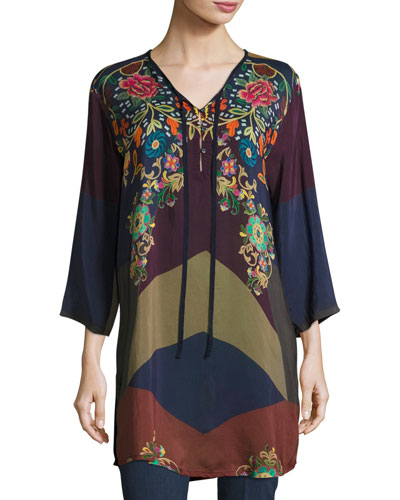Ludios Tie-Front Georgette Tunic, Plus Size
