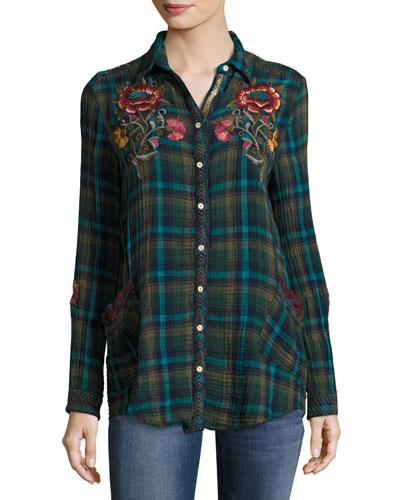 Bonnie Jasmine Plaid Embroidered Shirt, Multicolor