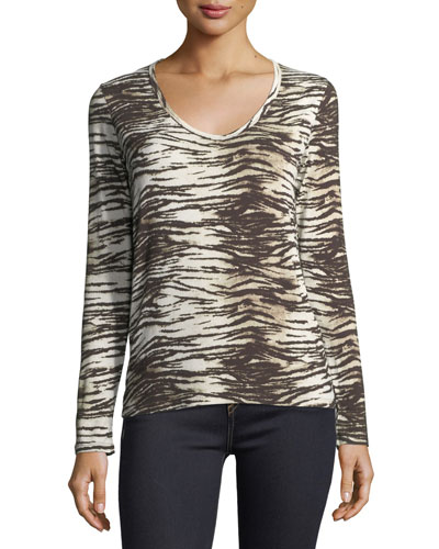 Long-Sleeve V-Neck Tiger-Print T-Shirt