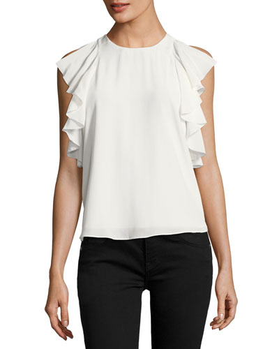 Lachlan Jewel-Neck Ruffled Chiffon Blouse
