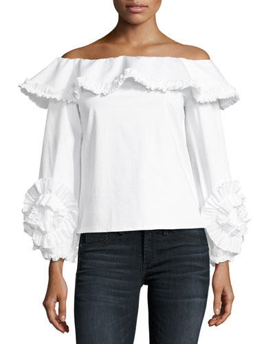 Regine Off-the-Shoulder Ruffled Top, White