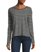 Long-Sleeve Striped Cotton/Cashmere Boat-Neck T-shirt