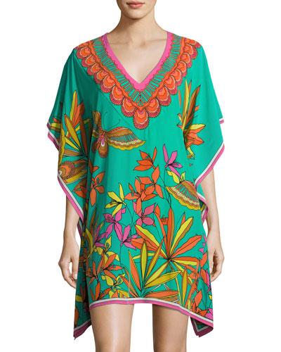 Theodora Floral Silk Tunic, Cabana Teal