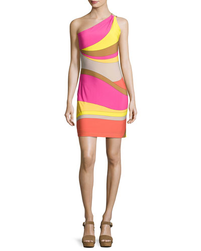 Faraway One-Shoulder Abstract Jersey Dress, Multicolor