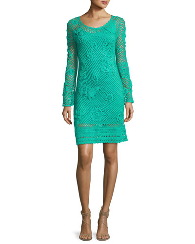 Cottonwood Long-Sleeve Crochet Sweaterdress, Cabana Teal