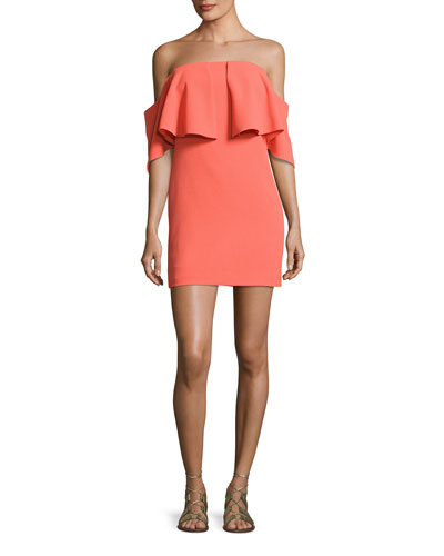 Mirador Off-the-Shoulder Popover Mini Dress, Orange Spritz