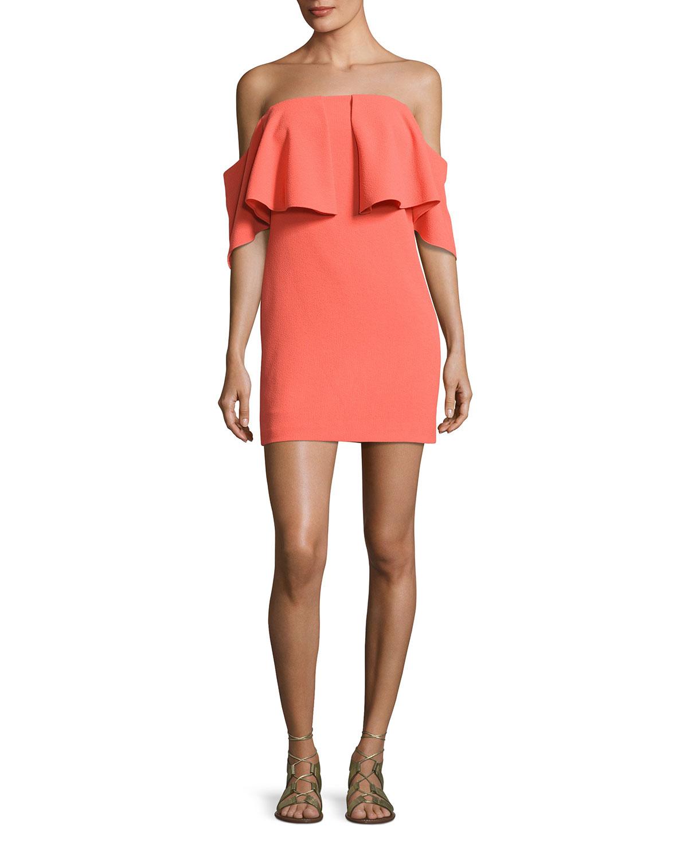 Mirador Off-the-Shoulder Popover Mini Dress, Orange Spritz