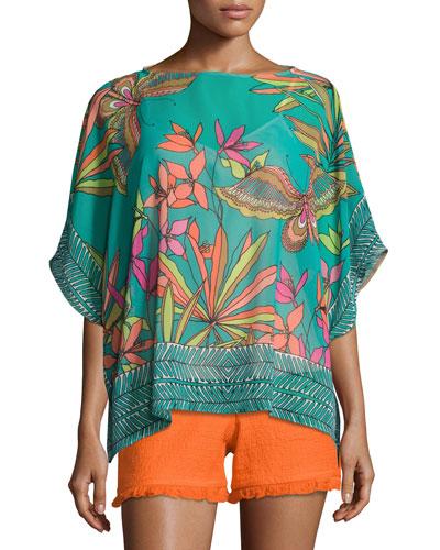 Marlete Floral Silk Top, Cabana Teal
