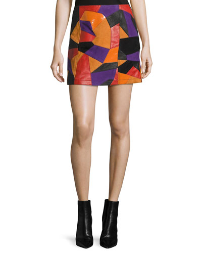 Patch-Cut Colorblocked Leather Skirt, Multi