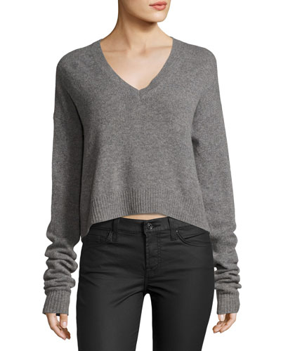 Cutout-Back V Neck Sweater, Gray