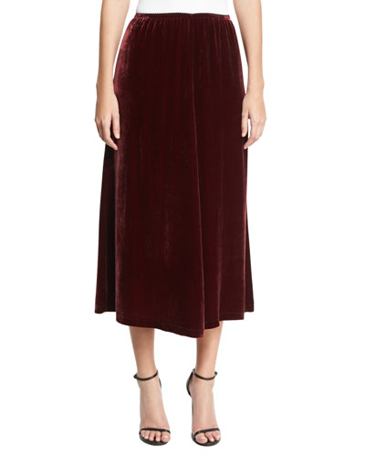 Velvet Fluid A-Line Skirt, Wine