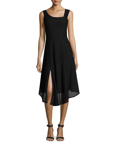 First Mate Sleeveless Asymmetric Stretch Mesh Dress, Black