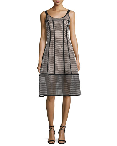 Sail Away Sleeveless Structured Mesh Stripe Dress, Black