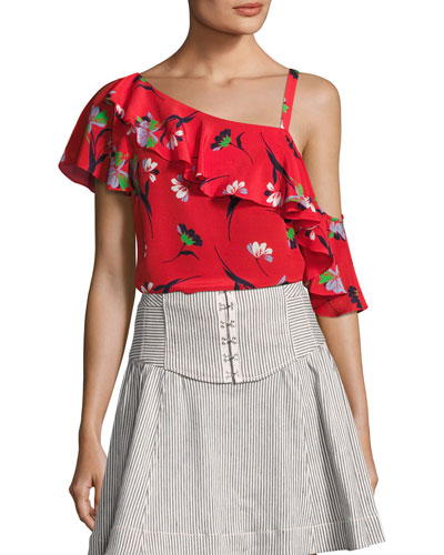 Hazy Days Asymmetric Floral Silk Top, Red/Multicolor