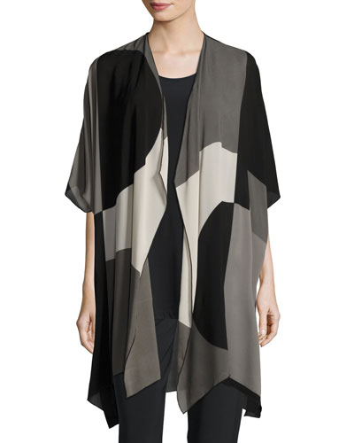 Geo Georgette Cardigan, Multi/Black