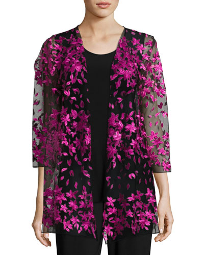 Floral Notes Draped Jacket, Azalea