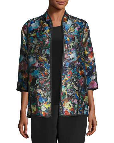 Moody Blooms Printed Easy Jacket, Plus Size