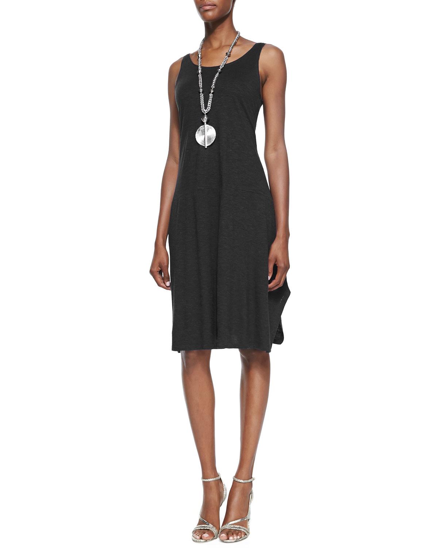 Organic Cotton/Hemp Twist Sleeveless Dress, Black, Plus Size