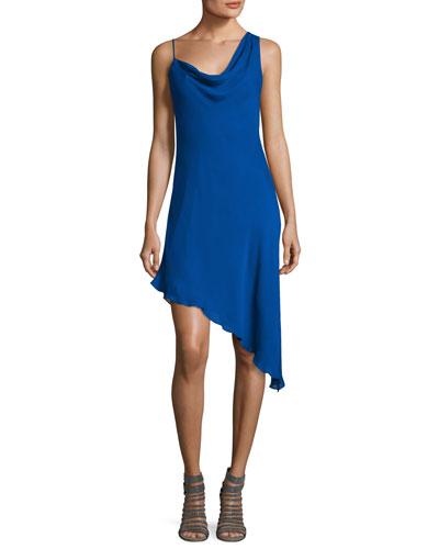 Audrey Cowl-Neck Silk Mini Dress, Blue
