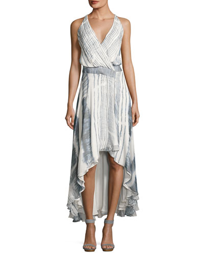 Meet Me Tonight High-Low Silk Dress, Multi