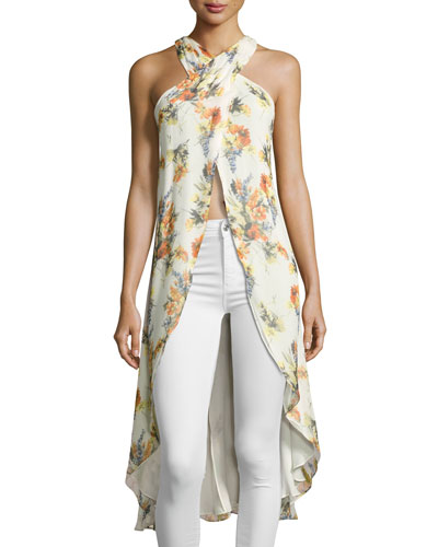 Jane High-Low Floral-Print Top, Multi