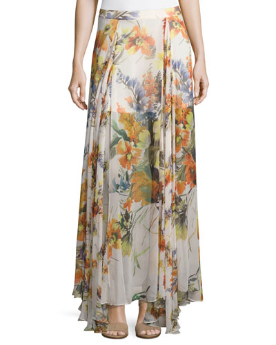 Chance Floral-Print Silk Maxi Skirt, Multi