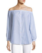 Vivien Button-Down Striped Poplin Top